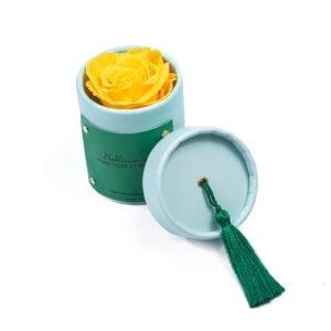 """Rosebox """"Aquamarine"""" z wieczną różą w kolorze żółtym"""